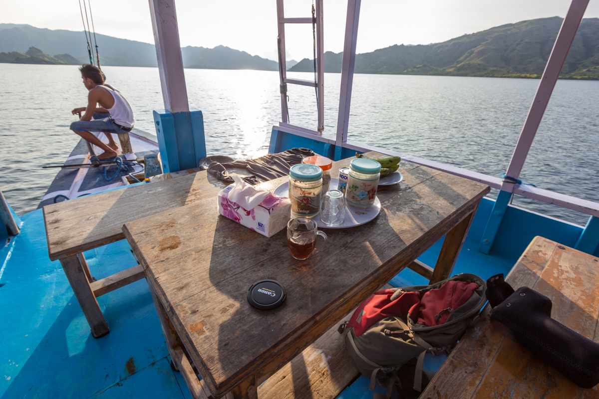 This table at the front of the boat and a small room with a bunk bed were my living quarters for the trip.