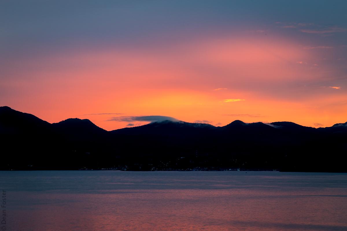 Sun rises over Lake Toba, Indonesia
