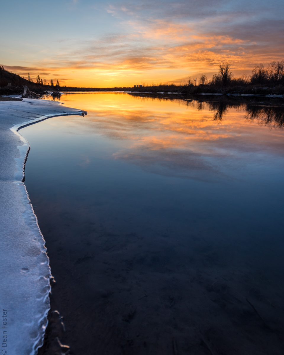 #10 - The sun rises over the Elbow River as it enters the Glenmore Reservoir. Calgary, Alberta, Canada