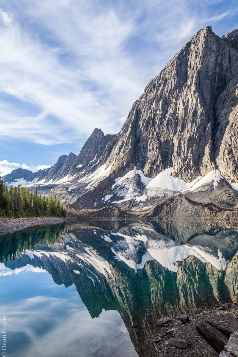 The reflection of Rockwall in Floe Lake