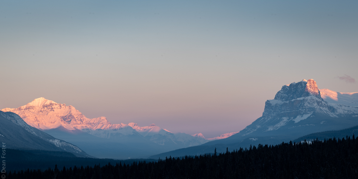 The Bow Valley flanked by Castle Mountain and Mount Temple