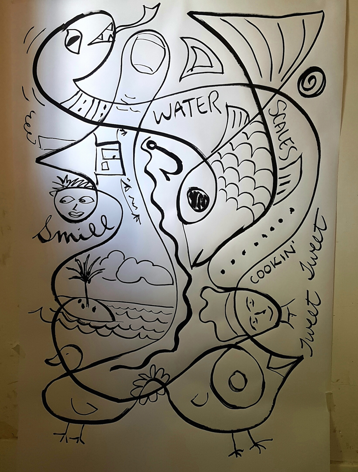"Drawing on the wall. 42"" x 60"" (ish)"