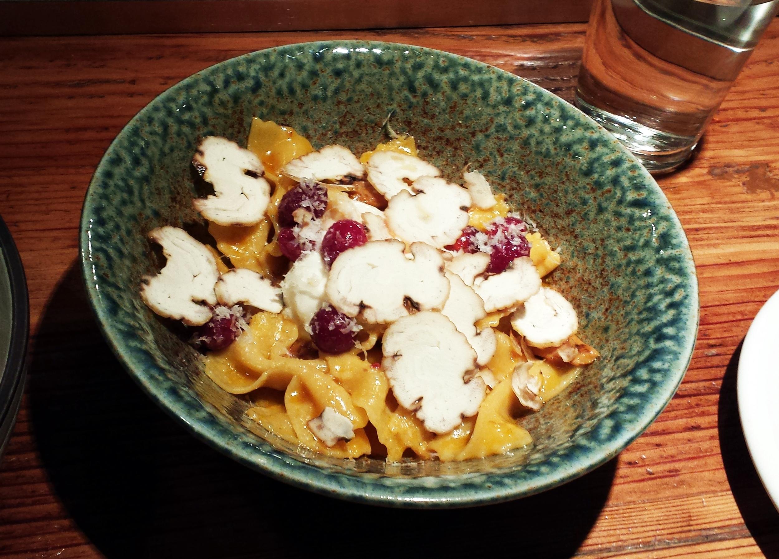 Bowtie pasta with pumpkin butter, cranberries, & chestnuts