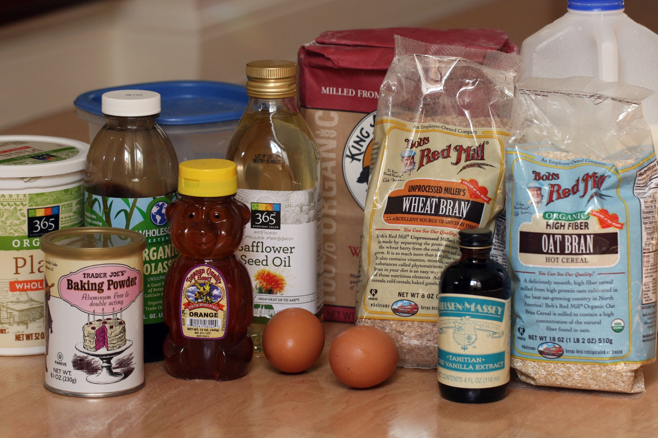Ingredients for homemade sustainable bran muffins