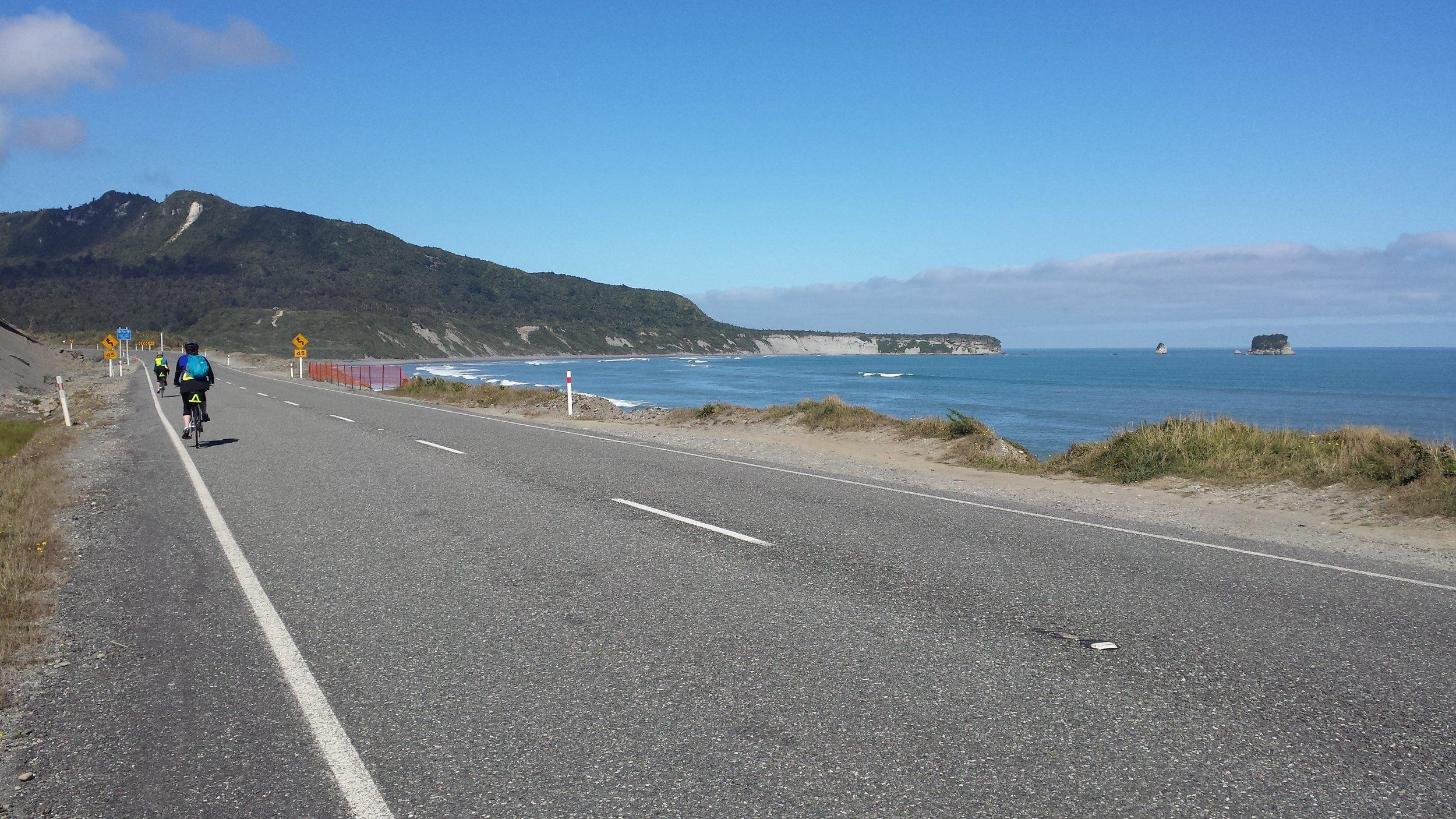 Biking along the Tasman Sea.