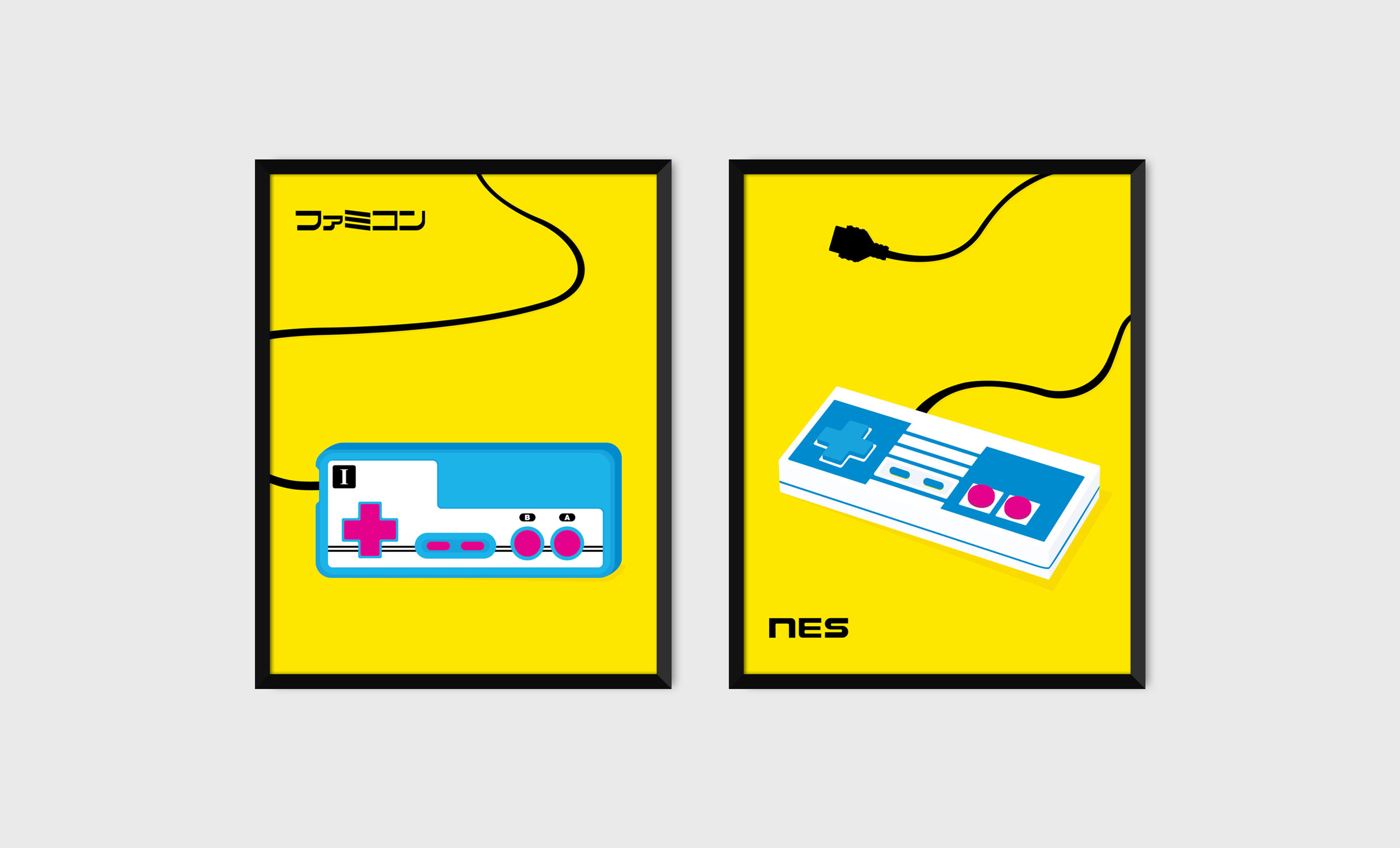Classic Pop Art style Famicom and NES print combo.