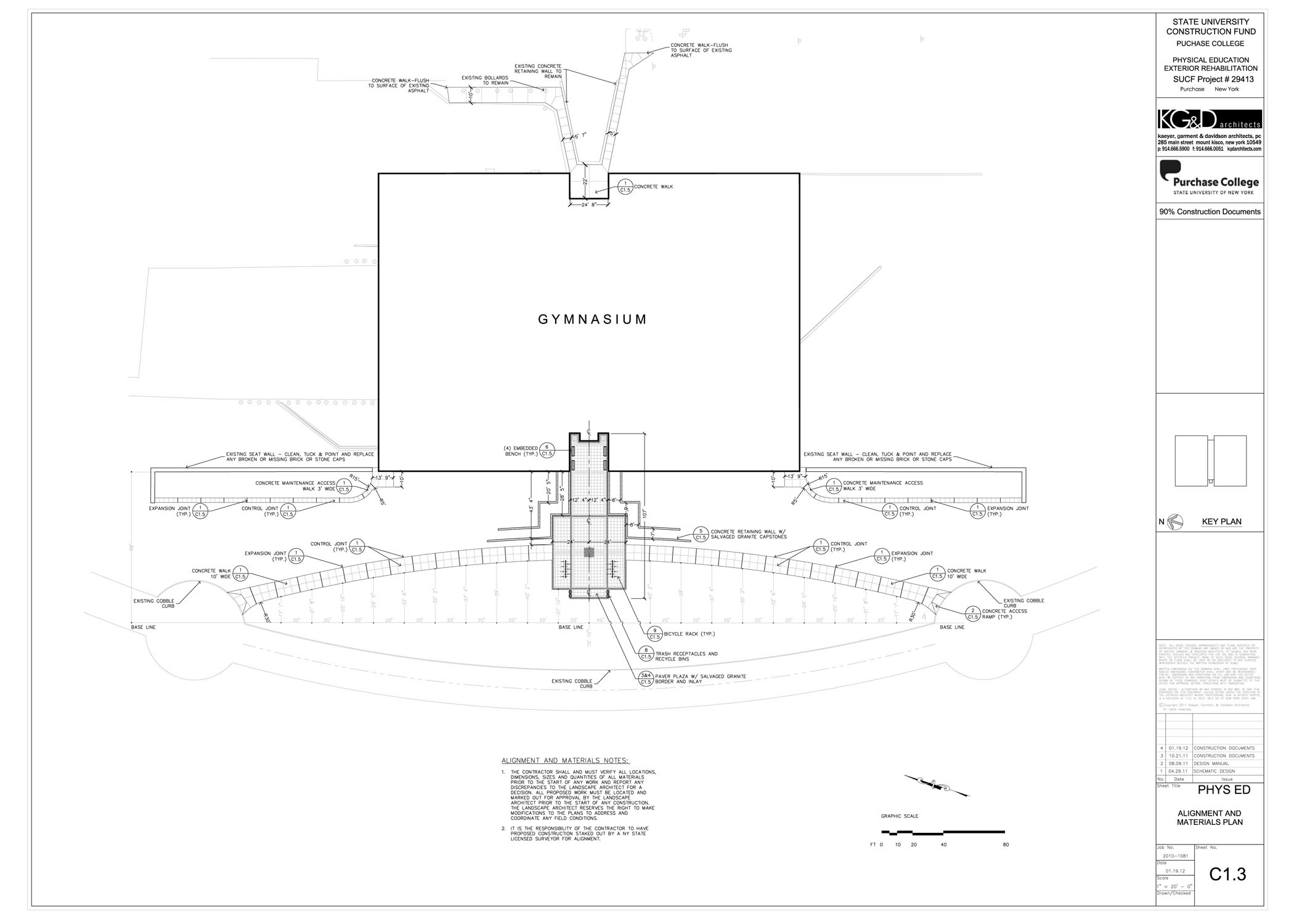 Construction Drawing - Alignment and Materials Plan (University)