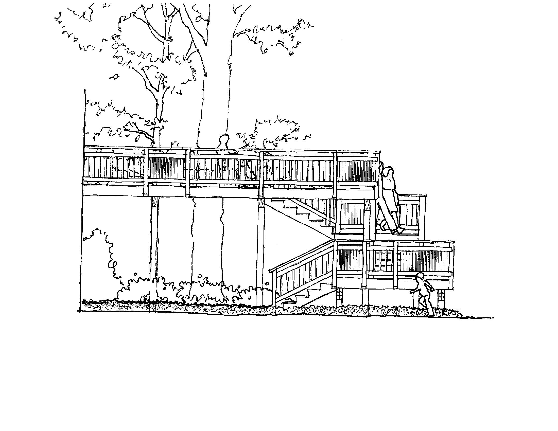 Silver Spring Deck Study #1  This concept intent was to provide a main seating area on the same level as the living areas of the residence with a smaller area close to ground level so that the client could be closer grand children playing in the backyard.