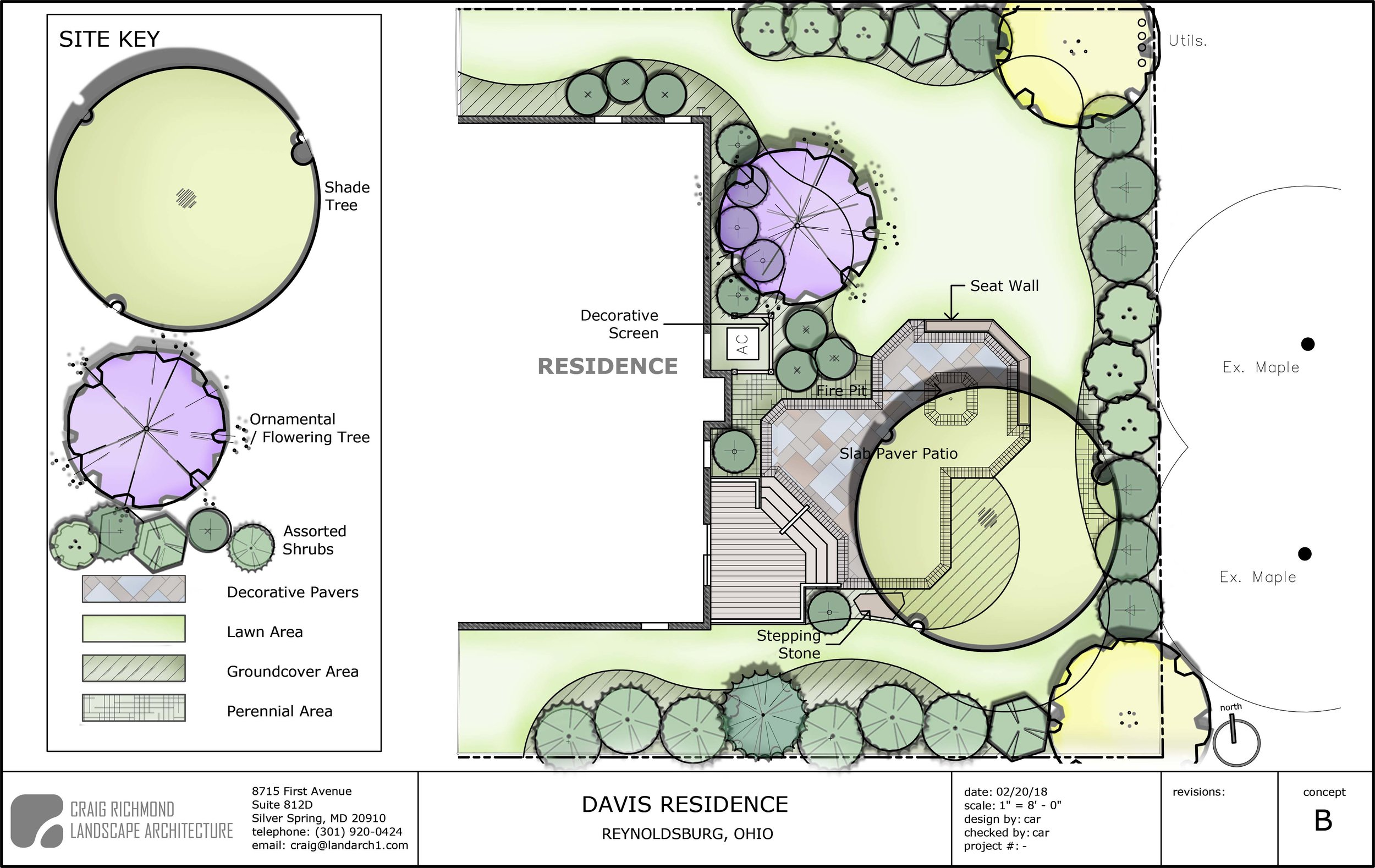 Single Family Residence-Rear Yard Concept #2, Columbus,OH  The goal with this concept was to provide a deck that would obstruct views from the patio doors with railing. The open plan allows a less restricted access to patio and fire pit area.