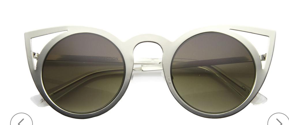 Women's Indie Fashion Round Laser Cut Metal Cat Eye Sunglasses