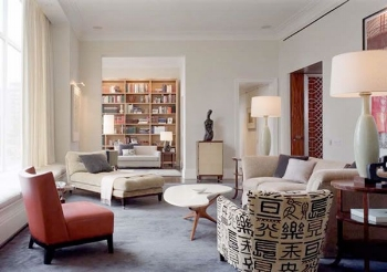 Flat - Good size, but all the same size (except lamps which look unbalanced in space)Image source - Freshome.com