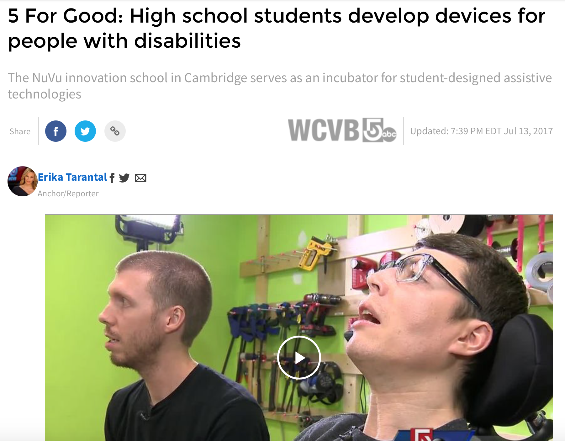 "- Studio collaboration between Lee Cusack and NuVu Studio featured on WCVB ""5 for Good"".more…"