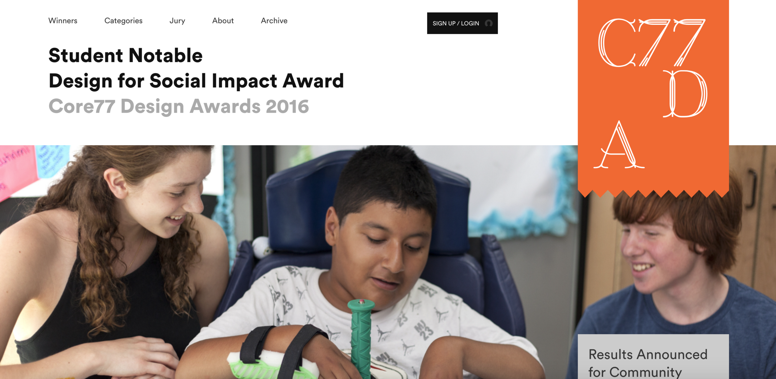 "- Students Alea, Seth, and Oliver named student notable for the Core77 Design for Social Impact Award for ""Arte Para Todas"" from the Easing Cerebral Palsy Studio.more…"