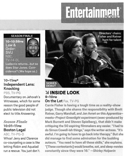 """Entertainment Weekly  """"What to Watch"""" May 25, 2007"""
