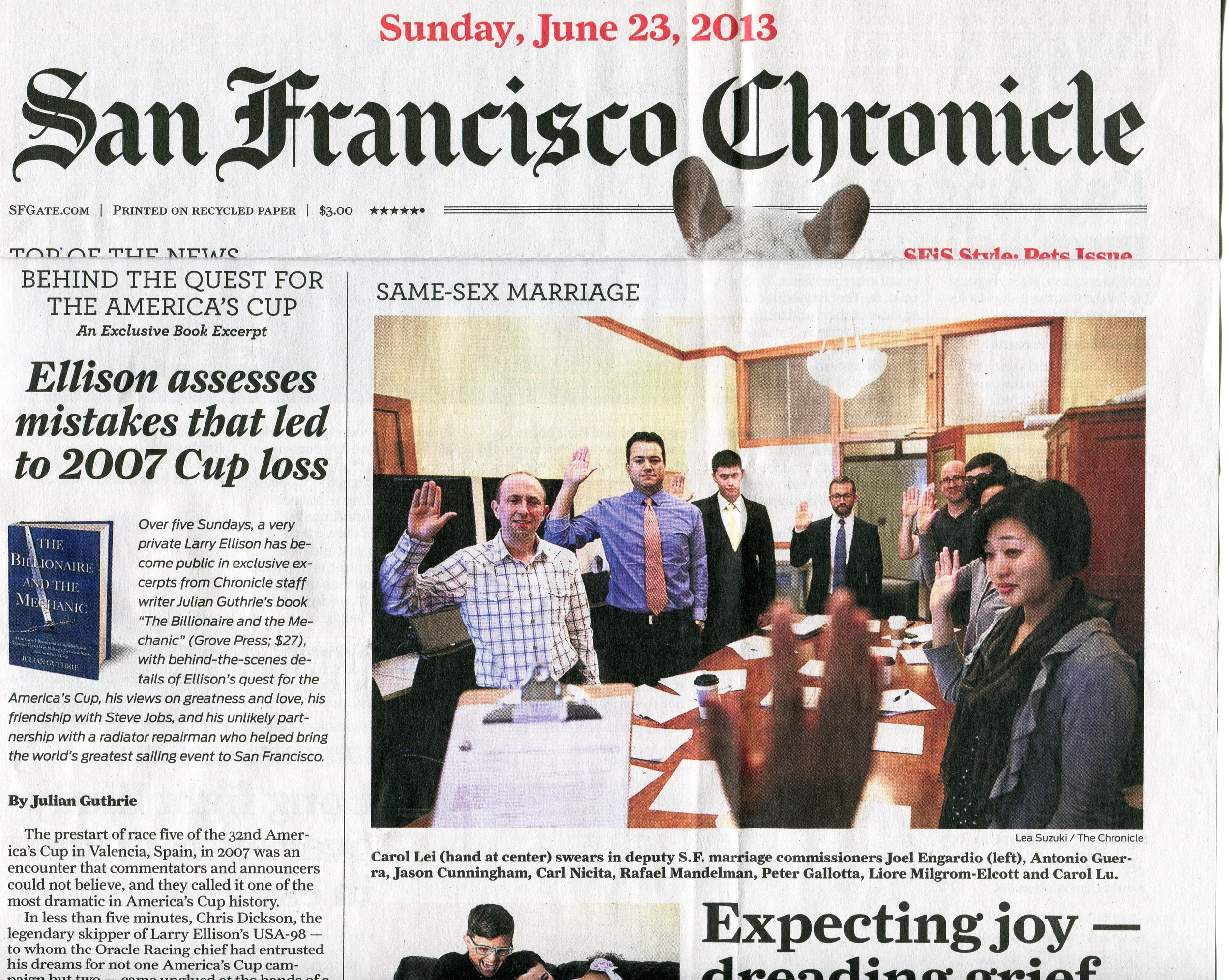 Front page photo of Joel Engardio sworn in as deputy marriage commissioner in advance of U.S. Supreme Court ruling to make same-sex marriage legal in California.