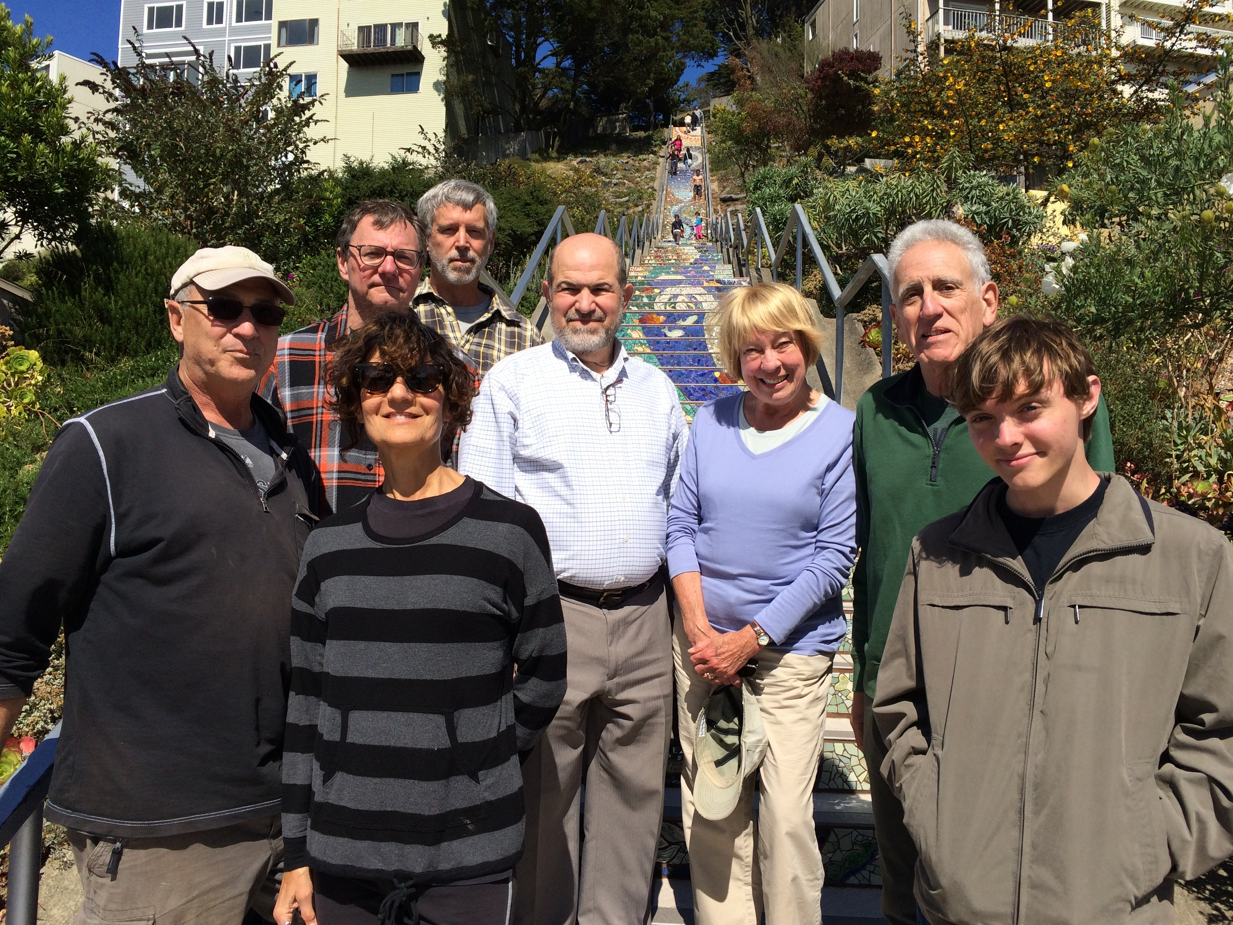 Westside residents and court watch members at the Moraga tiled steps in Golden Gate Heights, the scene of many auto burglaries.
