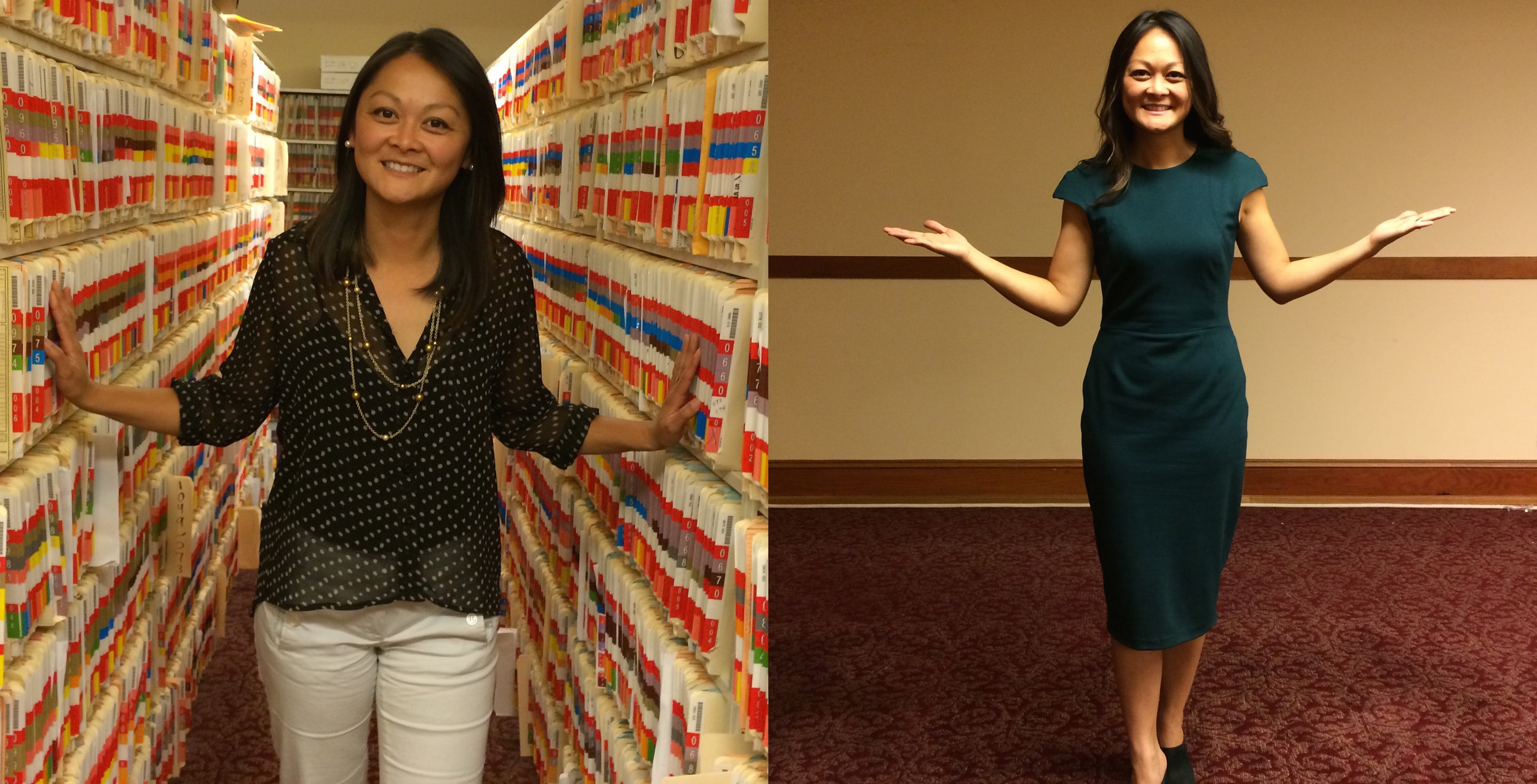 Assessor-Recorder Carmen Chu before and after digitizing 150,000 paper files to bring her office into the 21st Century.