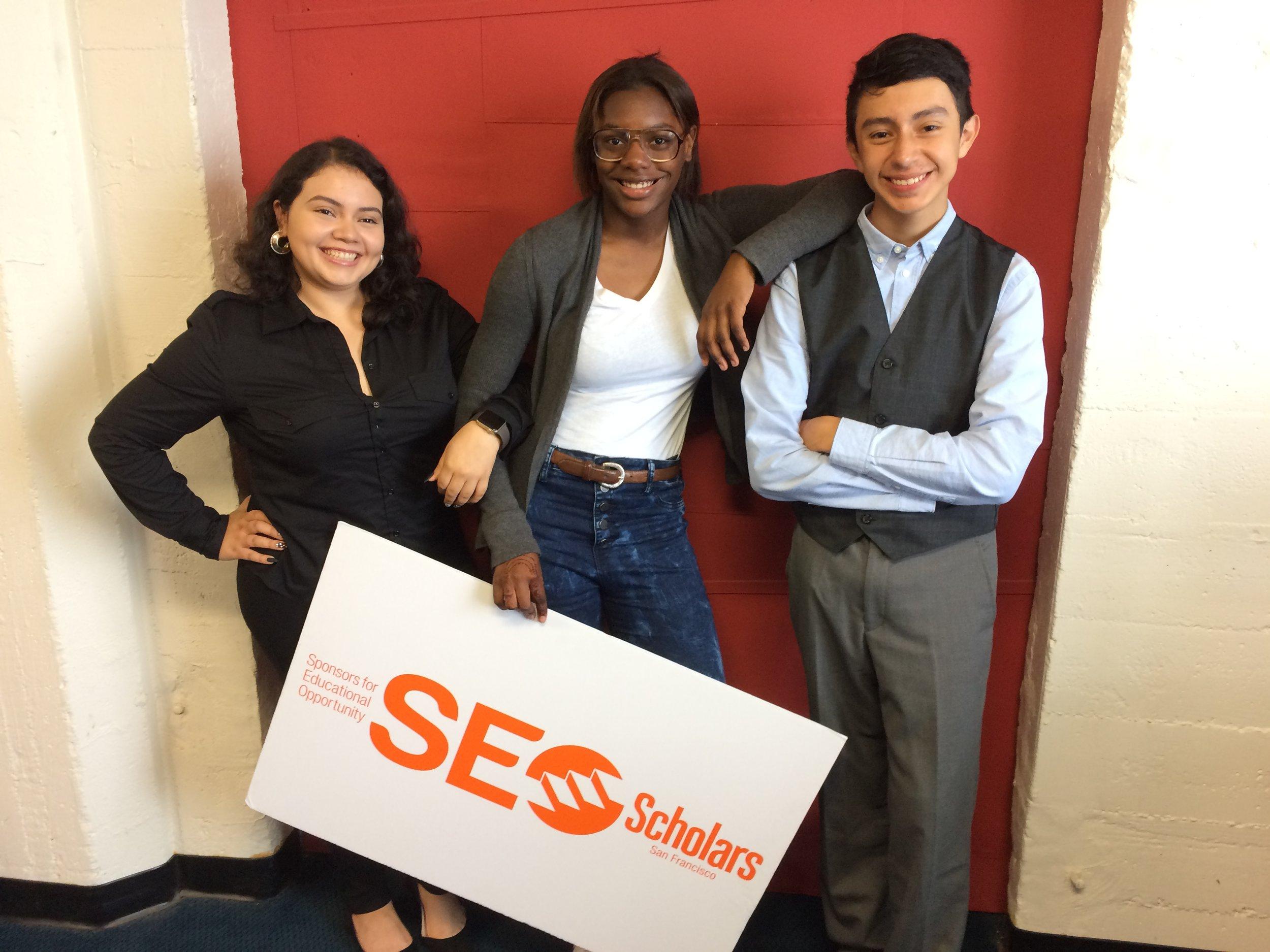 SEO Scholars (l to r) Iris Bonilla, 20, Kamiah Brown, 16, David Ruiz, 15