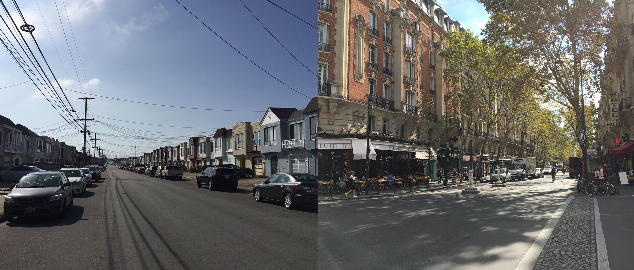 A comparison of similarly sized residential streets in San Francisco and Paris.