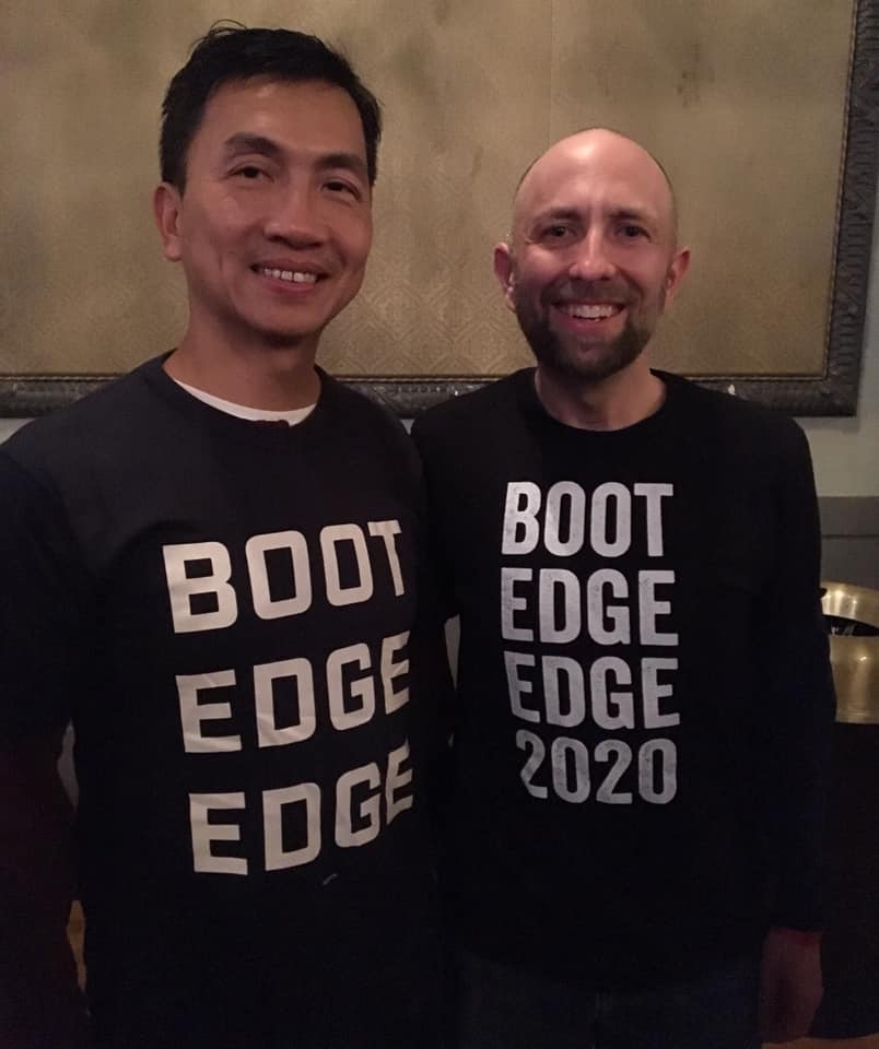 Joel Engardio and his husband Lionel Hsu at a Pete Buttigeg rally in San Francisco.