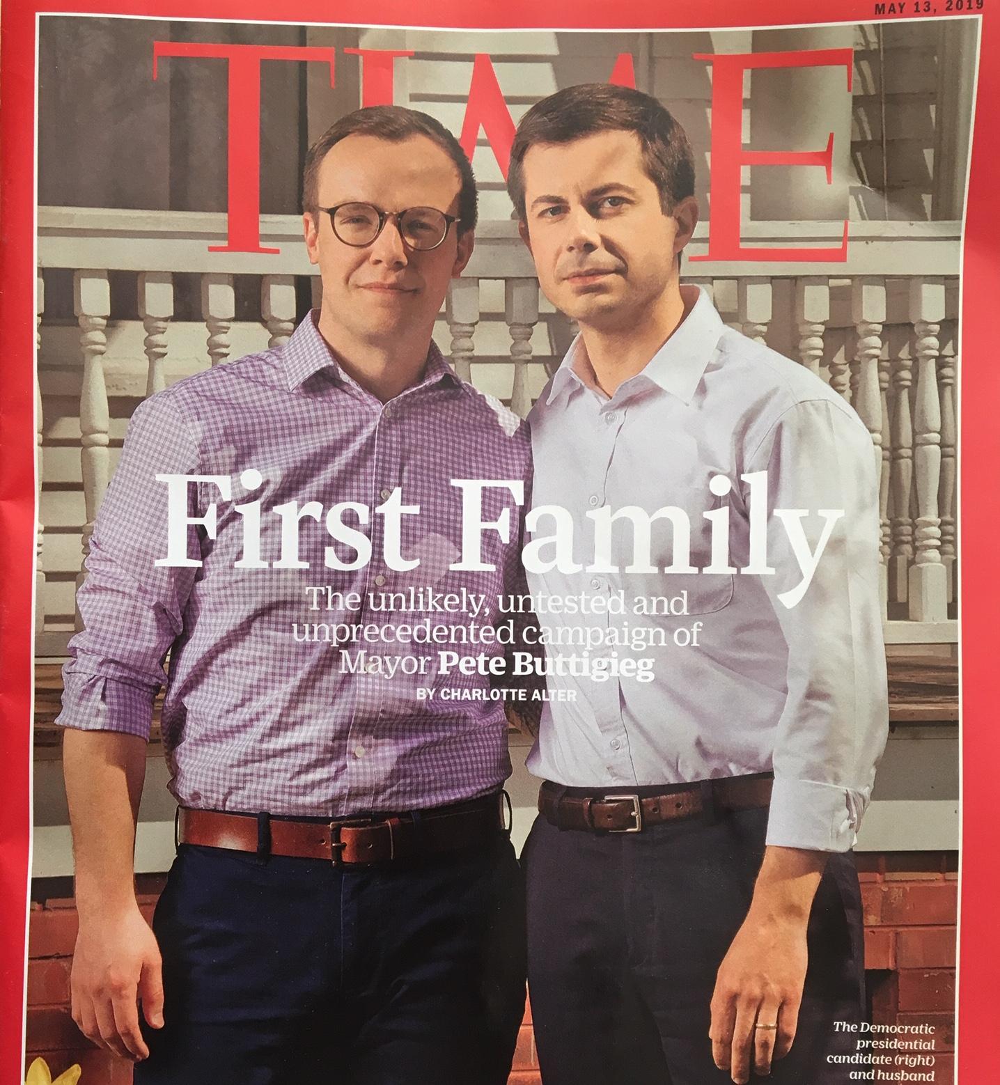 Time magazine cover May 13, 2019: Pete Buttigeg and husband Chasten Glezman Buttigieg.