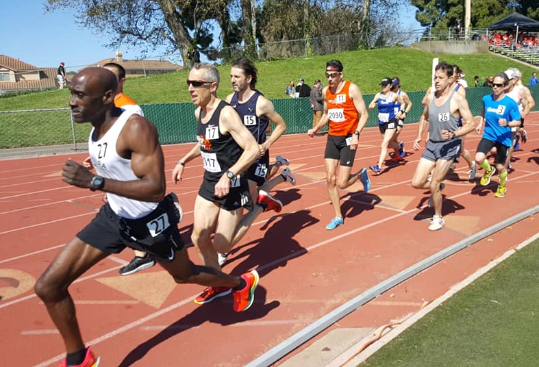 Markelle Taylor (front) runs at Chabot College in Hayward, California (photo courtesy Frank Ruona).