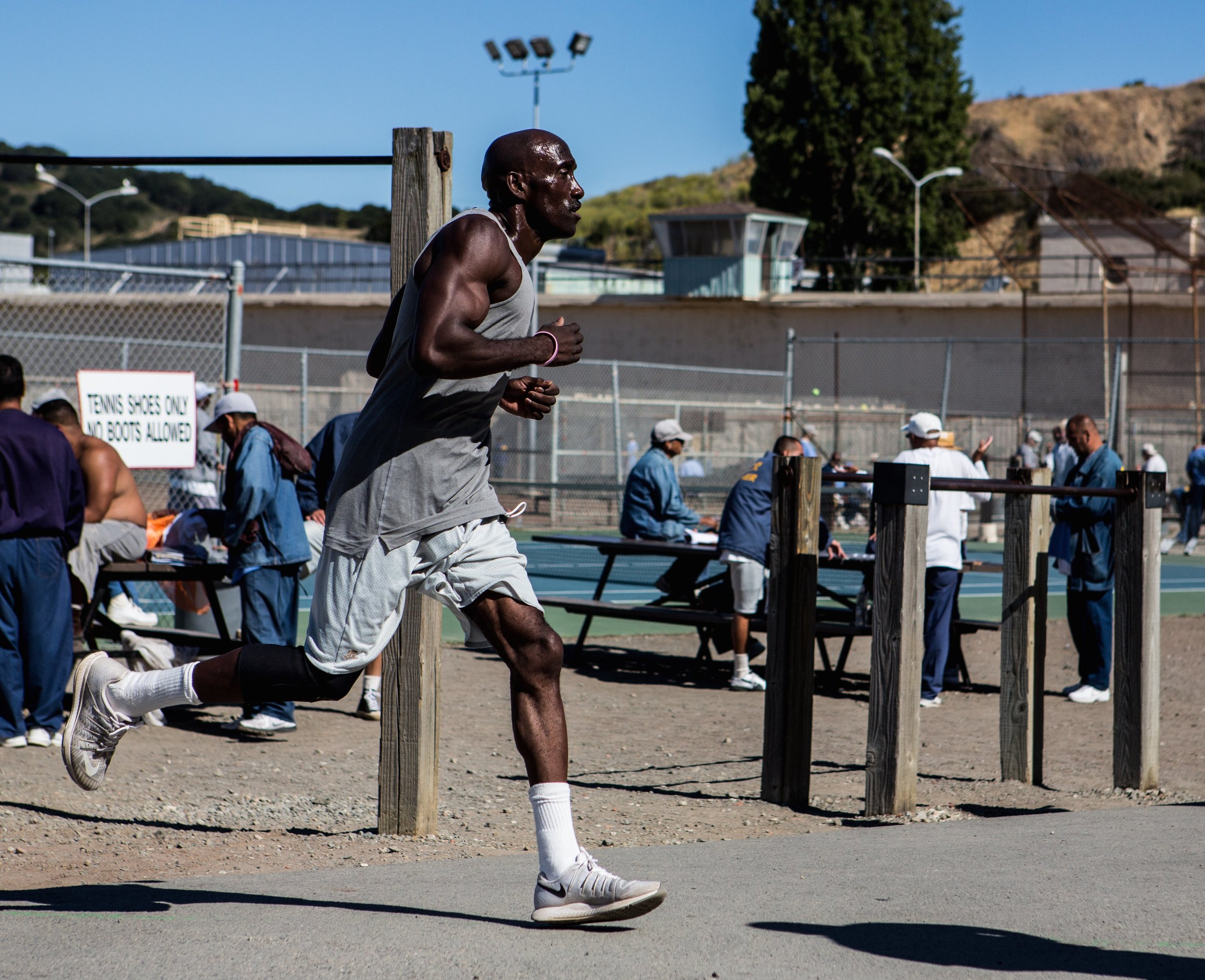 Markelle Taylor running inside San Quentin Prison (photo courtesy Christine Yoo).