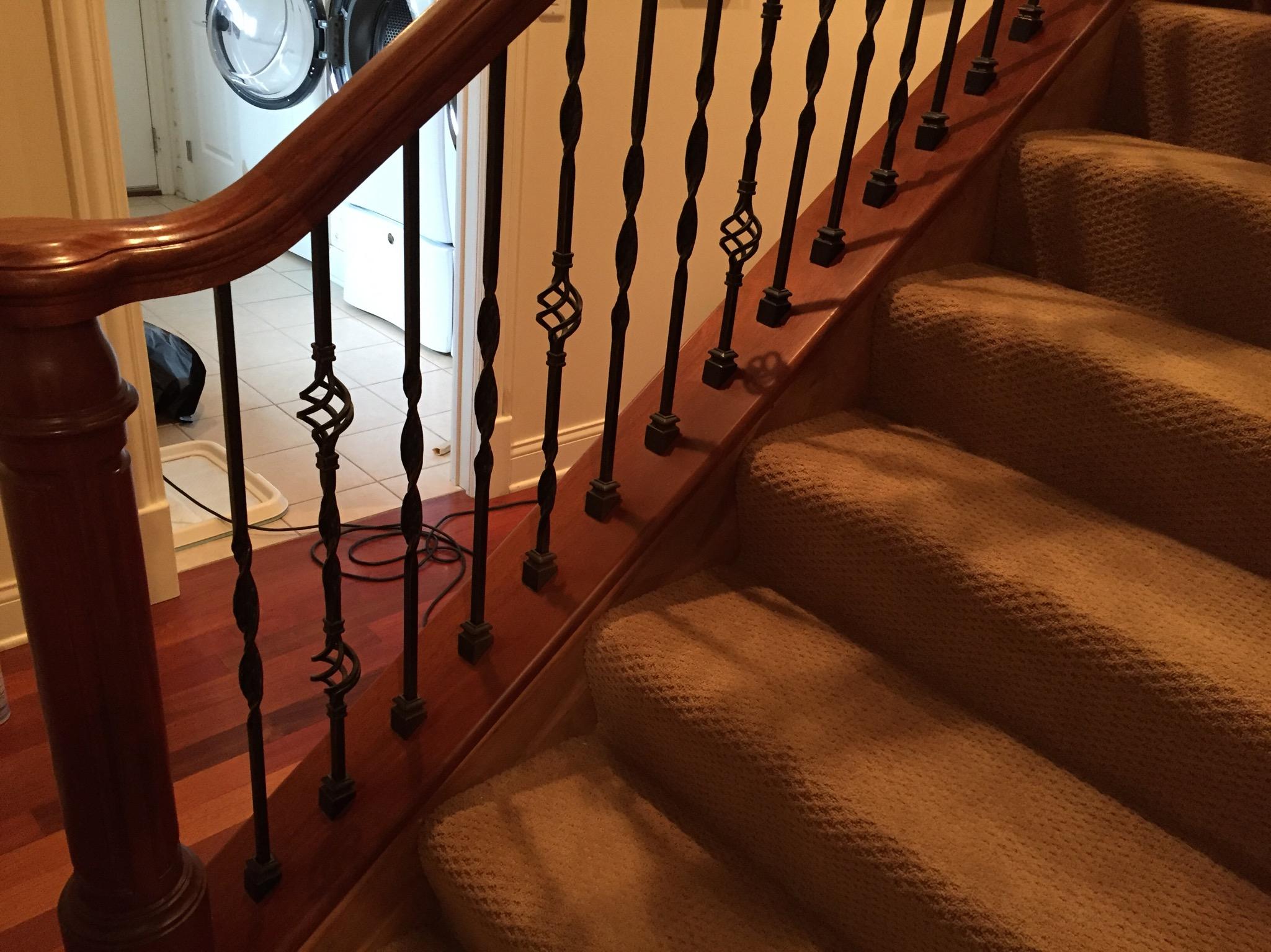 Pet damage at stair railing after.JPG