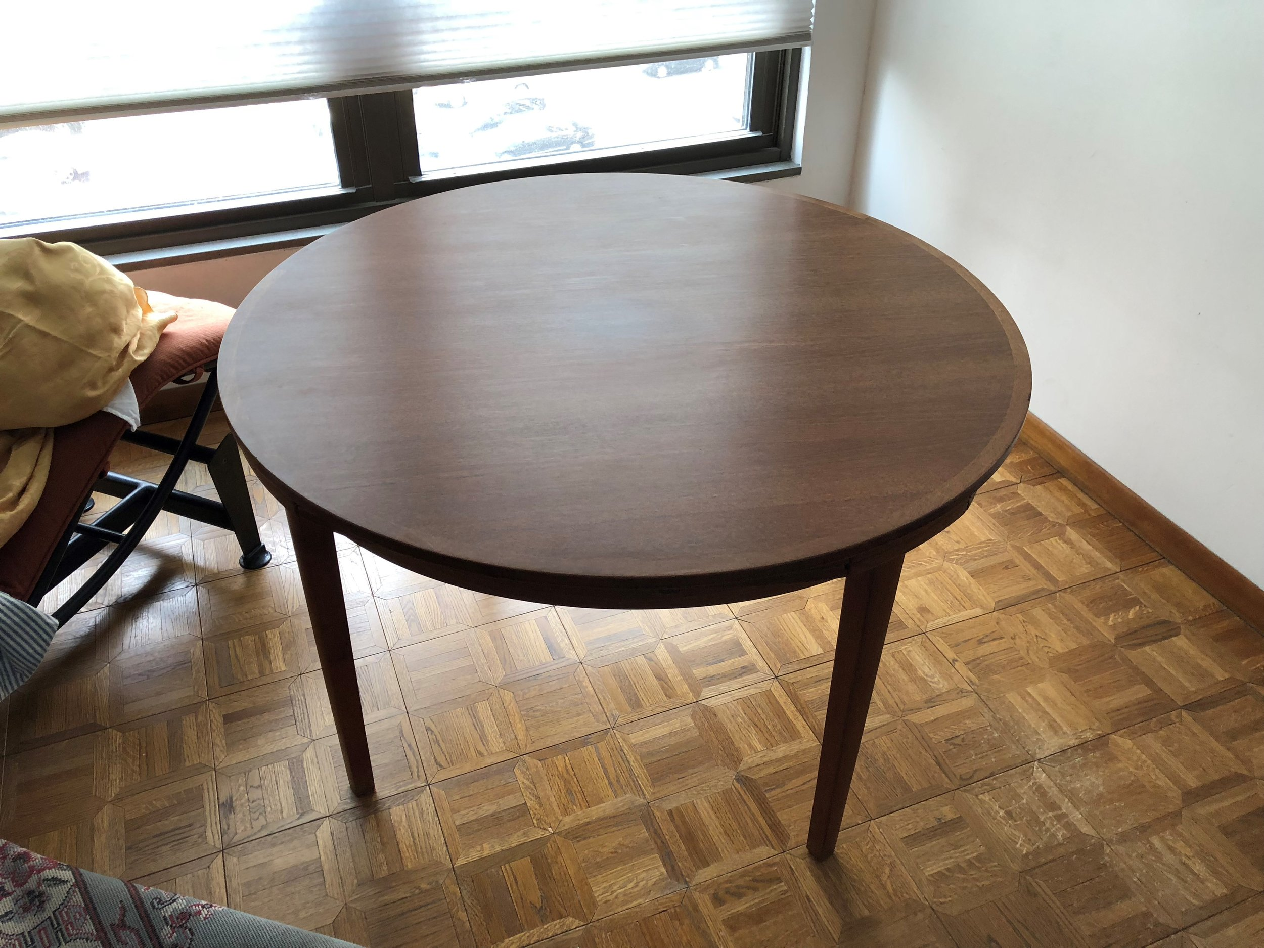 Before- Teak dining table with pullout/flip over leaves