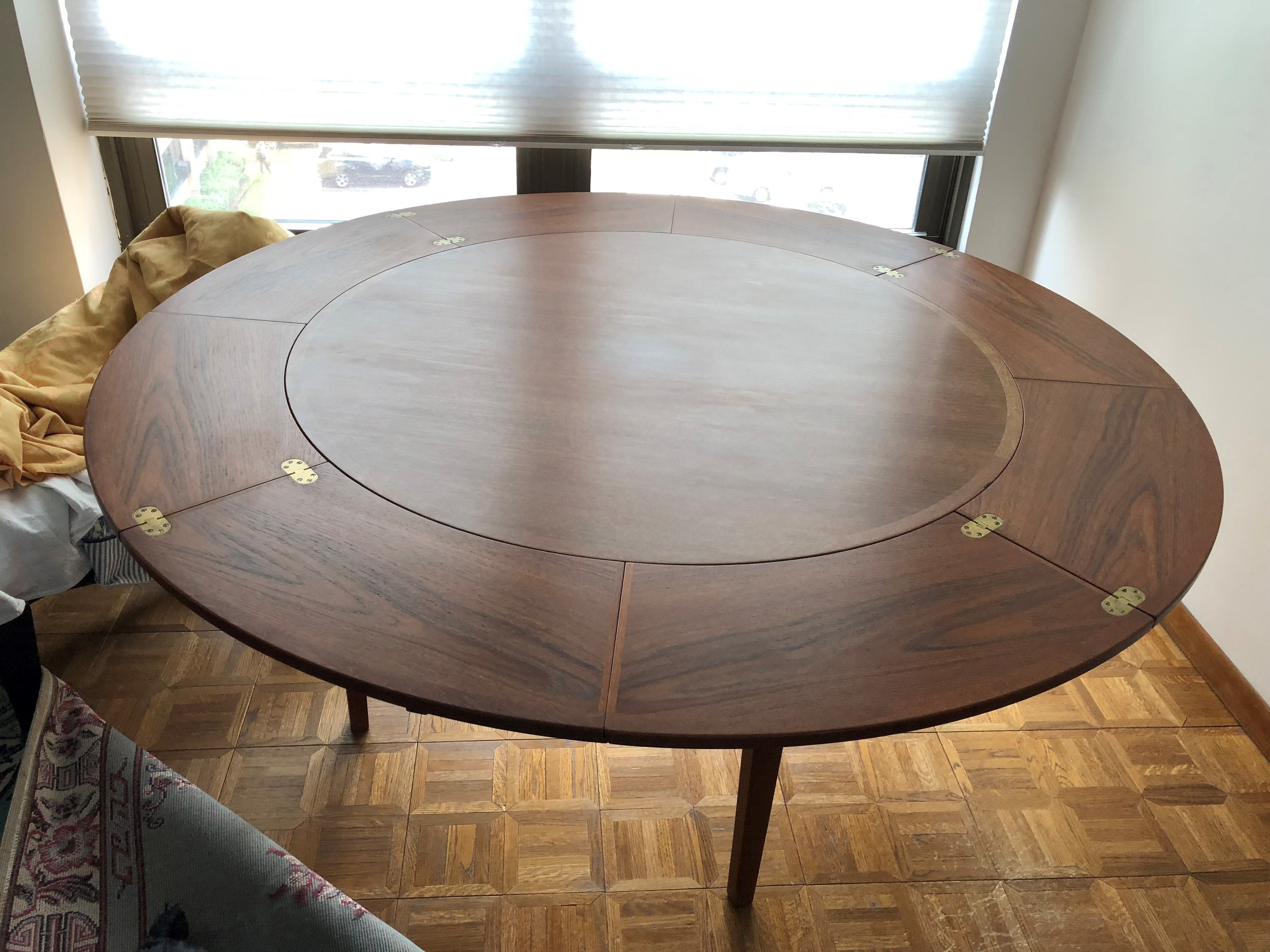 Before- Teak table in open position