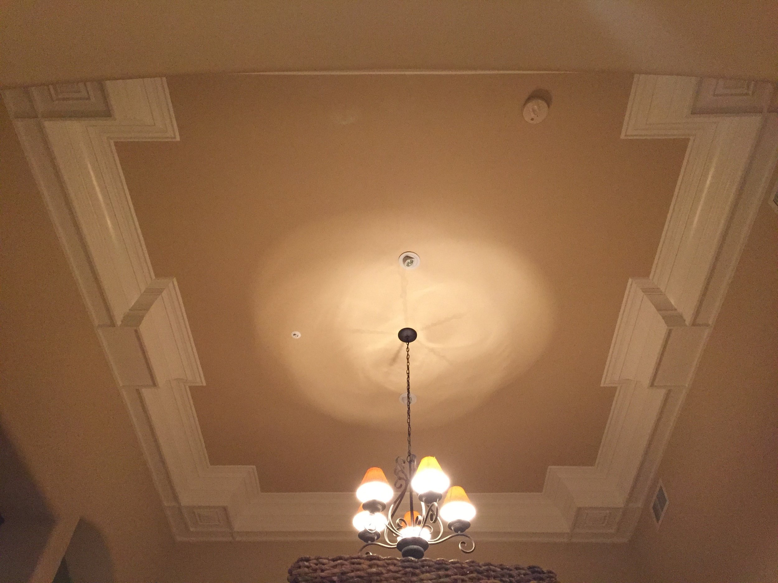Beam and crown molding ceiling- 12 ft in the air. Project located in Scottsdale, AZ