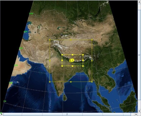 Figure 5. Low Resolution 27/09 km WRFDA test domain for WRFDA over Nepal for Dept. Hydrology and Meteorology