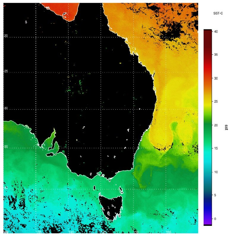 Sea surface temperature. Data provided to a satellite ground station.