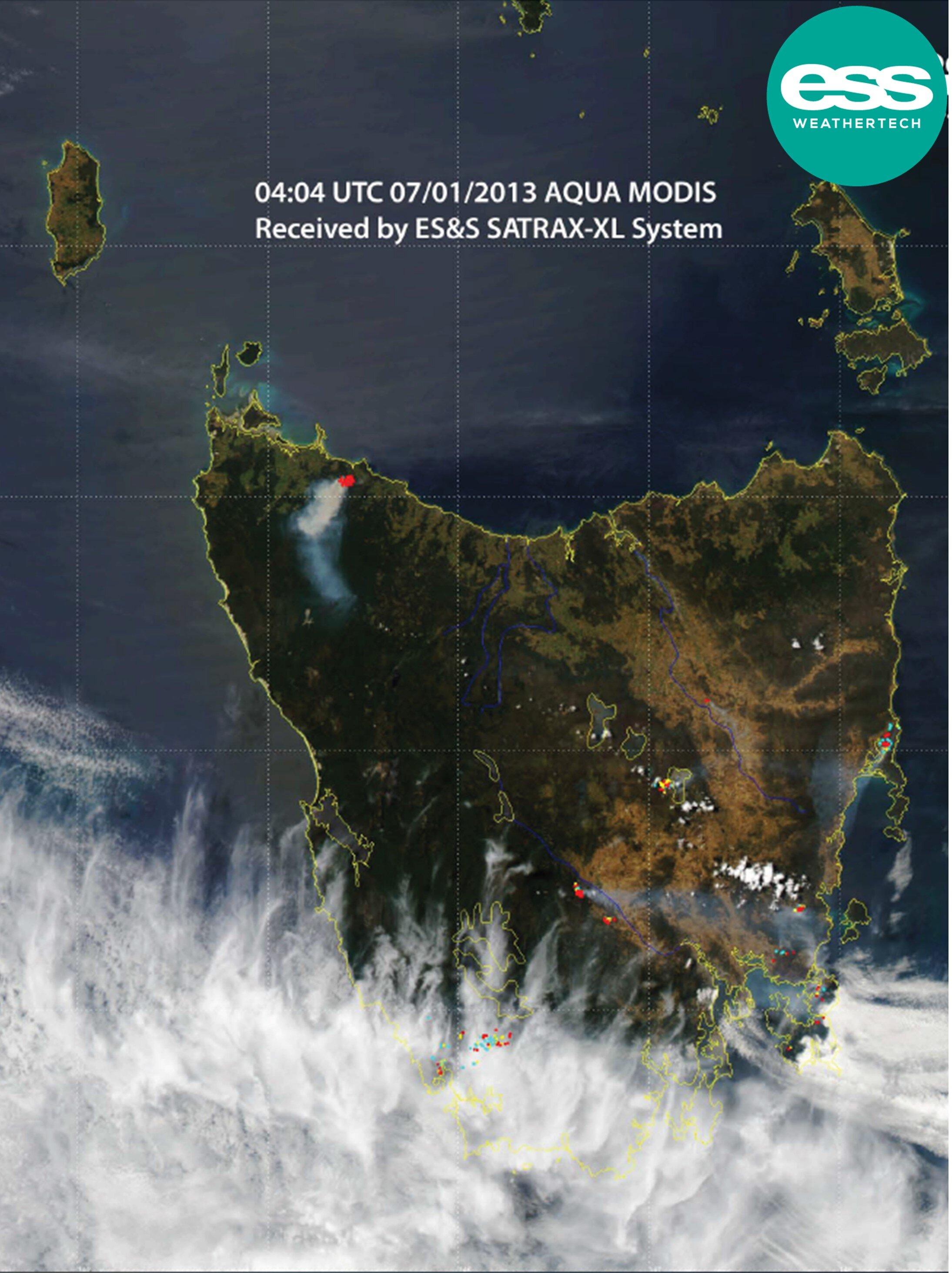 Satellite ground station data on tasmanian fires in 2013