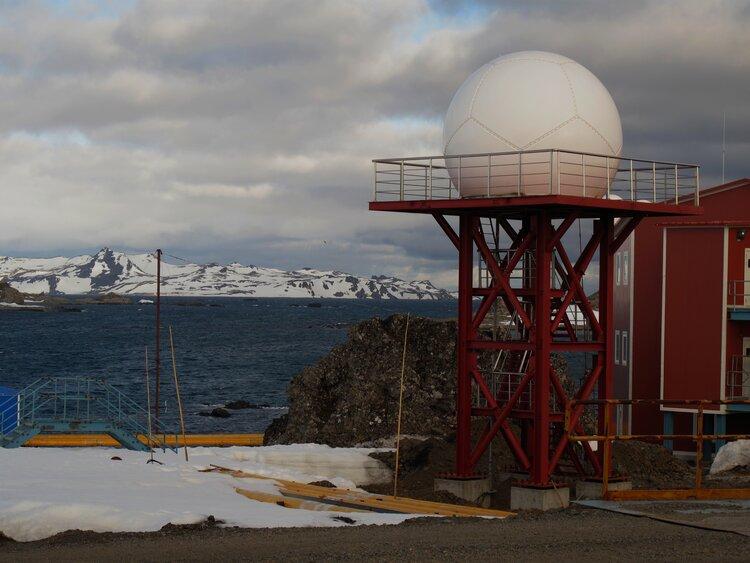 Radome on a satellite ground station in Antarctica