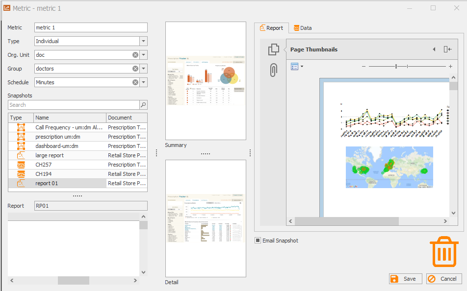 Metrics are a combination of snapshots which are linked together, making it easy for the user to view and interact.