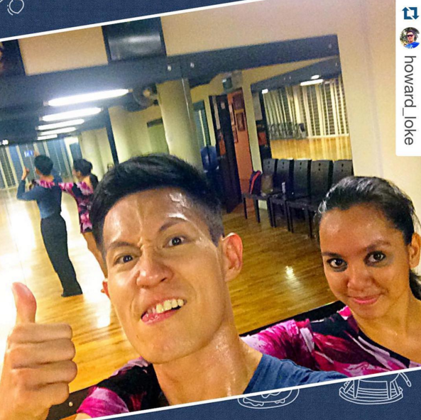 The unglamorous side of ballroom: Sweating and practicing hard at the dance studio.