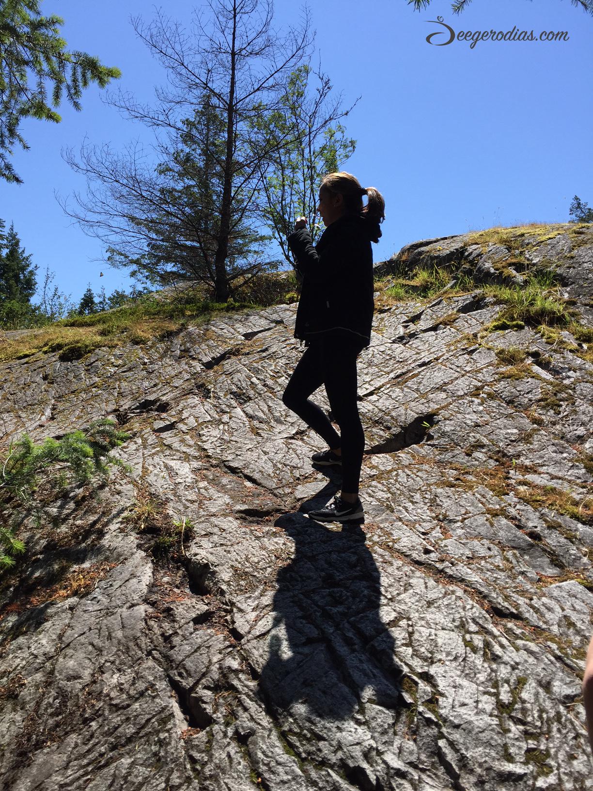 Climbing rocks and hills!