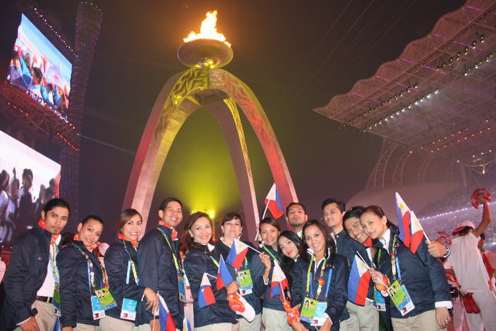 The Philippine Team during the torch lighting and grand opening ceremony of the Asian Games 2010. Check out more pictures of the event   here  .