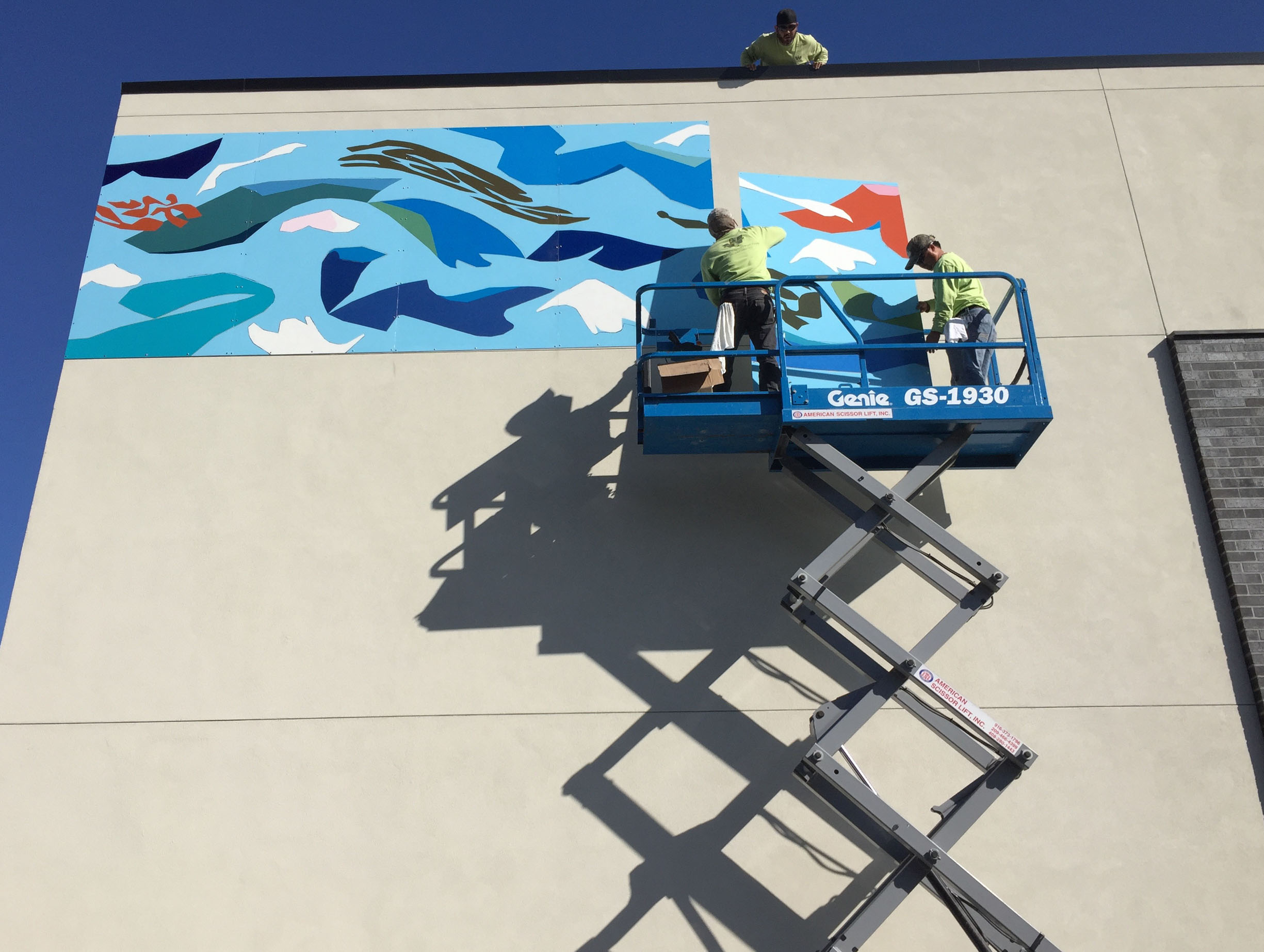 Installing the mural, August 31st, 2017