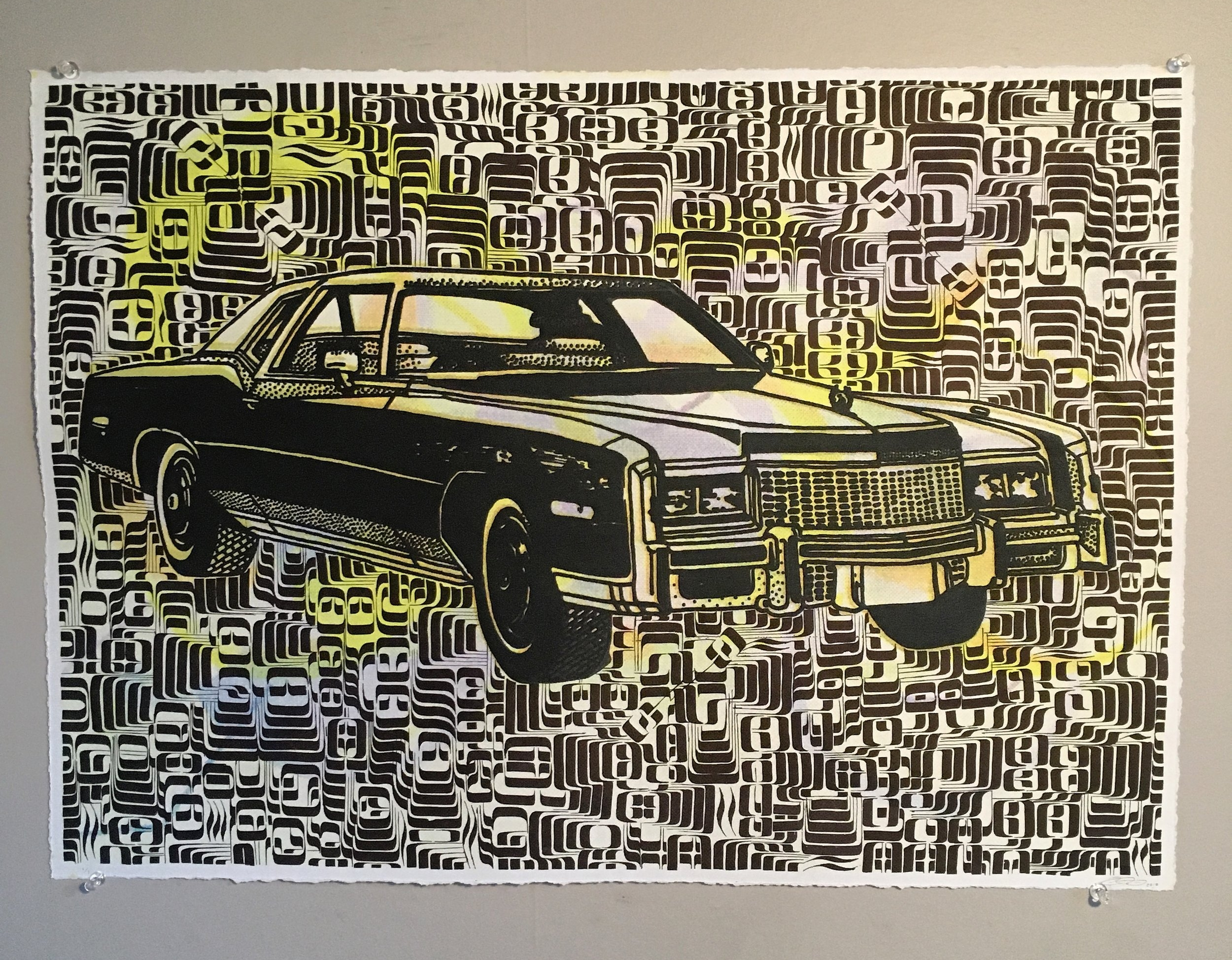 Screenprint car and background with hand embellished calligraphy. 24 in. by 19 in. $300