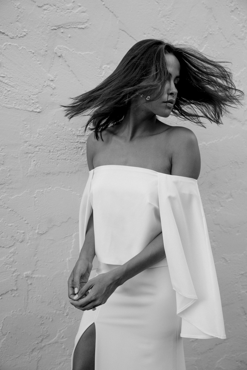 CARMEN - Off-shoulder, crepe caped top. For the super woman in all of us. Here she comes to save the day.