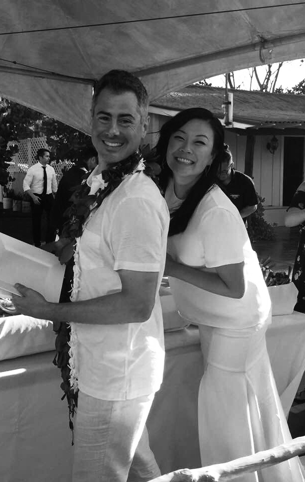 Rickie in her custom silk Tee and Skirt at her North Shore Oahu wedding.