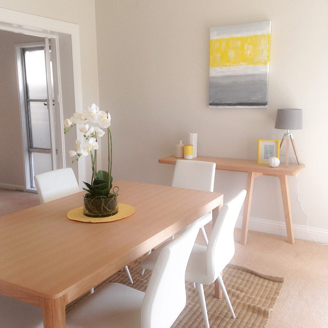 Wasn't the weekend glorious!? I spent it styling this apartment overlooking #sydneyharbour #weekend #happy #summer #styling #howtohq #interiorstyling #interiors #beautiful #coastal #yellow #diningroom #renovate @freedom_australia Bailey dining table and @domayne_australia cara chairs