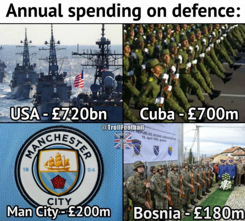 give it two years and Donald Trump will have declared war on manchester city.....which will certainly put a dent in their champions league ambitions.