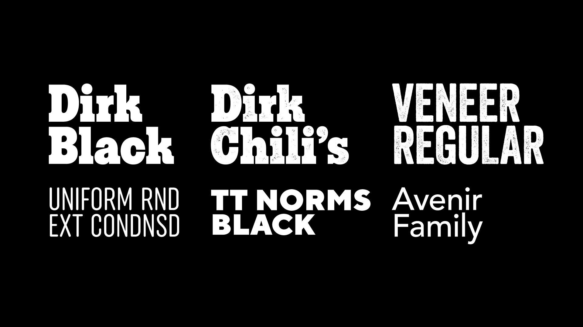 Dirk Chili's custom typeface by  Mark Butchko