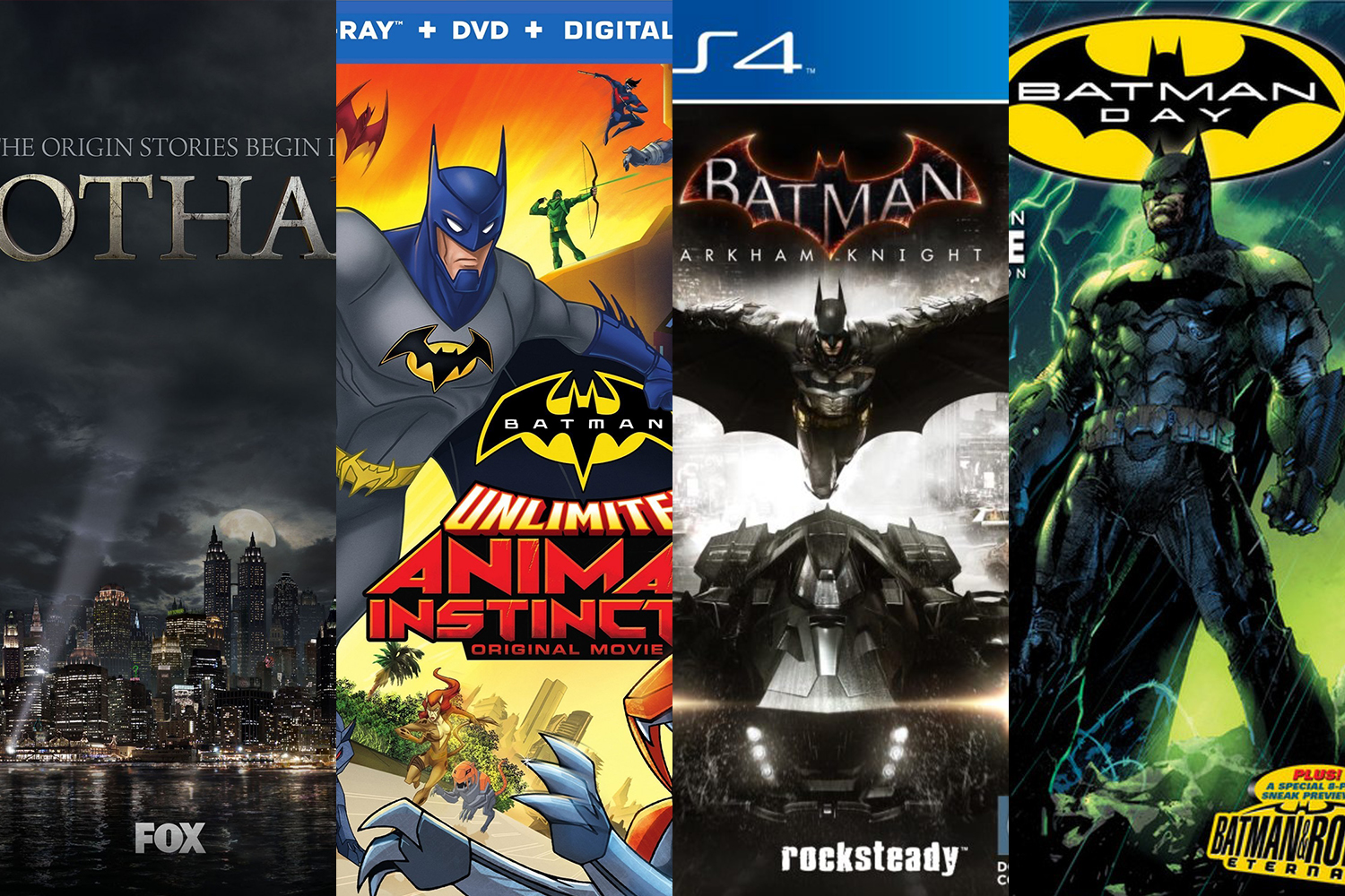 Just a few ways Batman fans can currently get their fix. Don't stop believing, Aquaman fans.