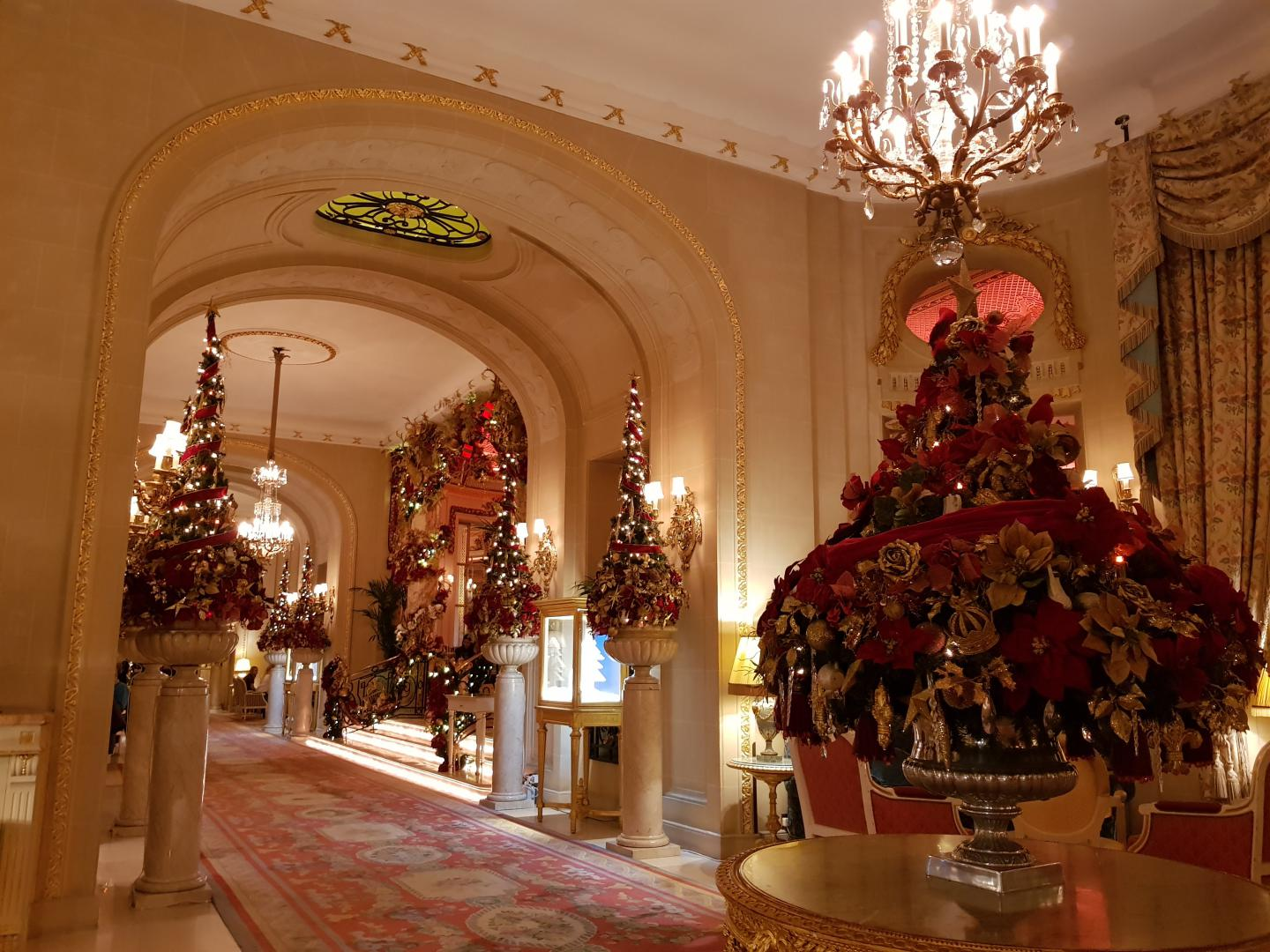 The interior of the Ritz at Christmastime