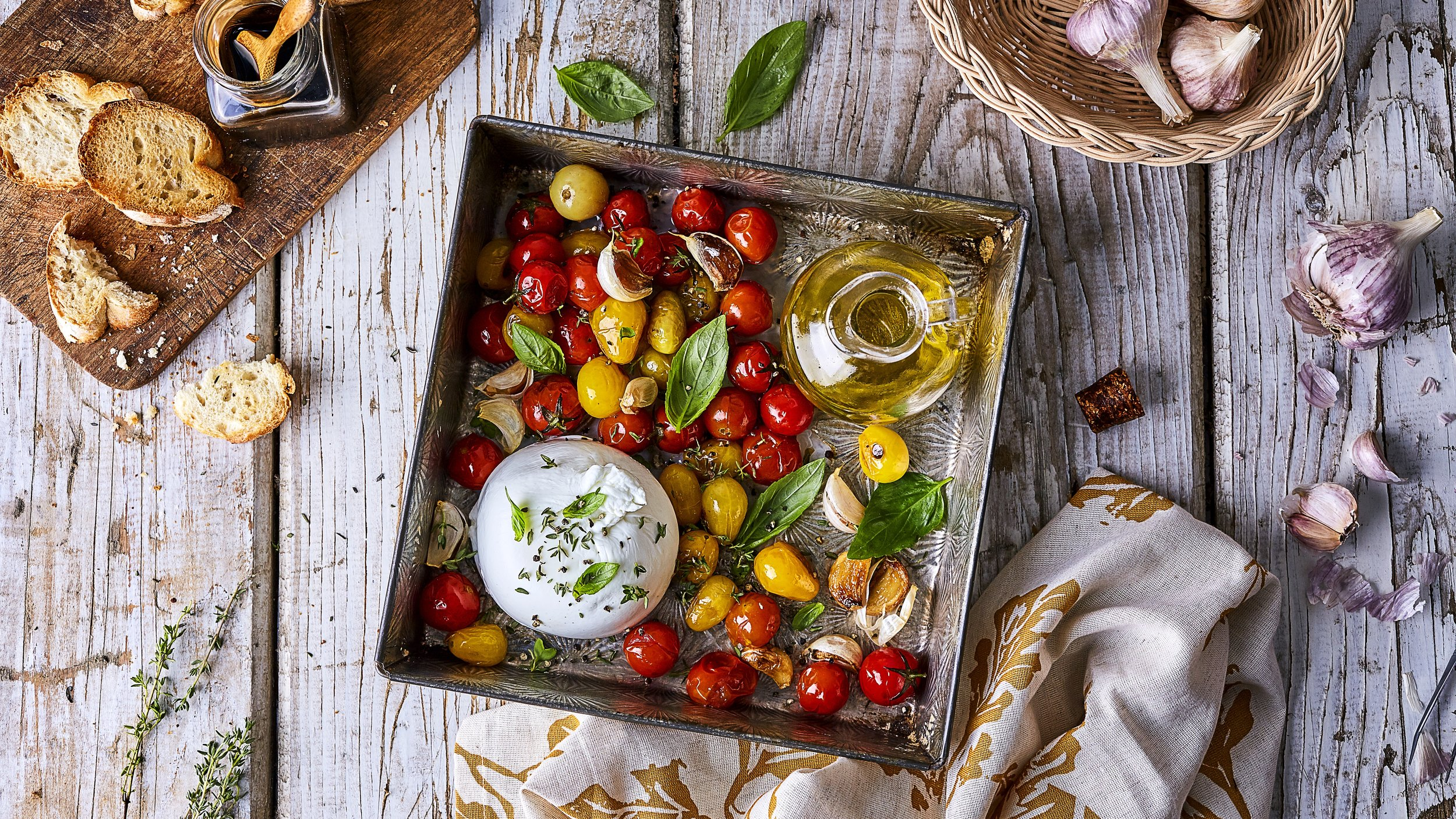 Braised Tomatoes with Burrata