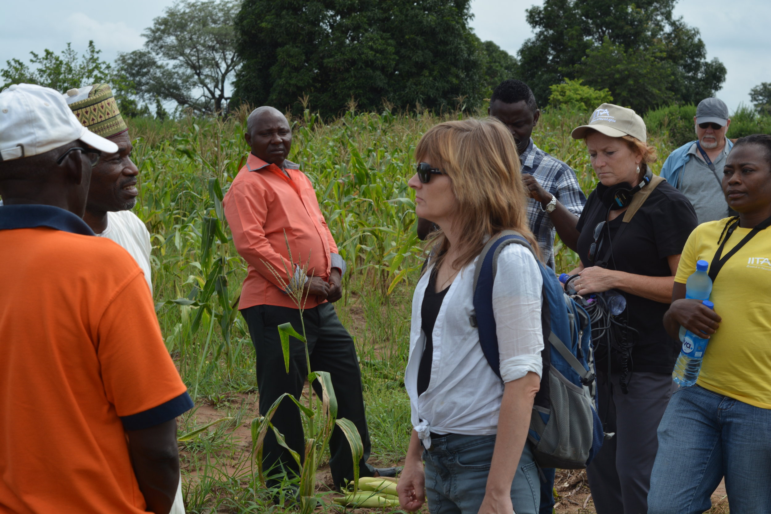 Jody Santos interviewing farmers in Nigeria.